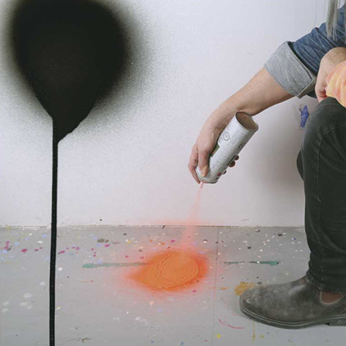 Mark Neufeld | TWO MINUTES OF SPRAY PAINT DIRECTLY UPON THE FLOOR FROM A STANDARD AEROSOL SPRAY CAN. Or: a minute here, a minute there.. | spray paint and ink on archival paper | 2015
